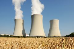 Nuclear power plant - cooling towers. Nuclear power plant in Temelin (Czech Republic stock image