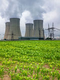 Nuclear power plant and corn field in the foreground Stock Image