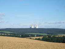Nuclear power plant in the Czech republic. A view through the field on the nuclear power plant Royalty Free Stock Images