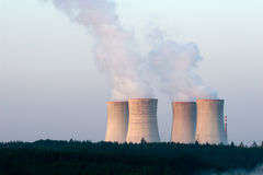 Nuclear power plant at dawn Royalty Free Stock Image