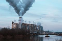 Nuclear power plant discharges steam into the atmosphere stock photo