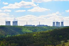Nuclear power plant Dukovany. Czech Republic, Europe. Landscape with forests and valleys. Royalty Free Stock Photography