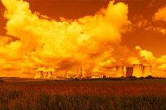 Nuclear power plant Dukovany in Czech Republic Europe. Sunset Stock Images
