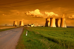 Nuclear power plant Dukovany in Czech Republic Europe in the sunset Stock Images