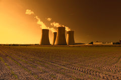 Nuclear power plant Dukovany in Czech Republic Europe, sunset sky Stock Photography