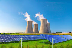 Nuclear power plant Dukovany with solar panels in Czech Republic Europe Royalty Free Stock Images
