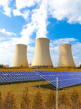 Nuclear power plant Dukovany with solar panels in Czech Republic Europe Stock Image