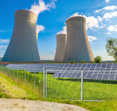 Nuclear power plant Dukovany with solar panels in Czech Republic Europe Stock Images