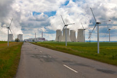 Nuclear power plant Dukovany with wind turbines in Czech Republic Europe Stock Photo