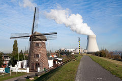 Nuclear power plant ecological windmill Royalty Free Stock Image