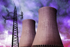 Nuclear power plant with electricity pylon Royalty Free Stock Images