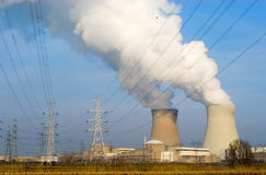 Nuclear power plant with electricity wires Royalty Free Stock Image
