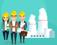 Nuclear power plant. Nuclear energy. Nuclear power plant. Production of electricity. A young team of engineers. Construction and planning. Happy people Stock Images