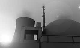 Nuclear power plant in gray. Illustration of nuclear power plant in gray Royalty Free Stock Image