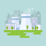 Nuclear power plant. Green nuclear power plant. City buildings and skyscrapers on background. Flat vector illustration Stock Photo