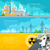 Nuclear Power Plant Horizontal Banners with Text. Nuclear Reactor and Power Lines, Nuclear Station Supplies Electricity to the City, People Near the Control Stock Photo