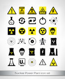 Nuclear Power Plant icon set. Vector illustration Royalty Free Stock Image