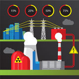Nuclear power plant illustration. Trendy infographics set. All types of power plants. Stock Photography