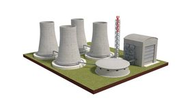 Nuclear power plant isolated on white 3d illustration Royalty Free Stock Photo