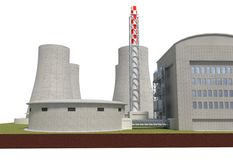 Nuclear power plant isolated on white 3d illustration Stock Photography