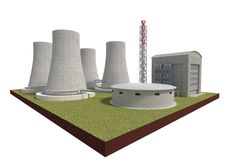 Nuclear power plant isolated on white 3d illustration Royalty Free Stock Images