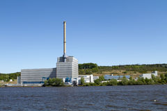 Nuclear power plant Kruemmel, Hamburg. Nuclear power plant Kruemmel and the river Elbe on May 08, 2011. The power plant's cooling relies exclusively on the water Royalty Free Stock Photos