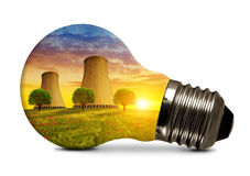 Nuclear power plant in light bulb Royalty Free Stock Image