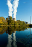 Nuclear power plant next the pond and its reflection in water Royalty Free Stock Image