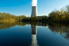 Nuclear power plant next the pond and its reflection in water Stock Photo