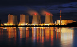 Nuclear power plant by nigh Stock Photos