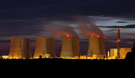 Nuclear power plant by night Royalty Free Stock Photography