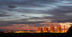 Nuclear power plant by night Royalty Free Stock Image