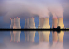 Nuclear power plant by night Stock Photography