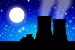 Nuclear power plant in night Royalty Free Stock Images
