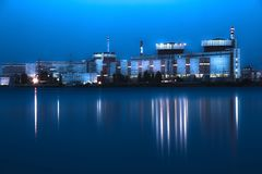 Nuclear power plant at night in South Ukraine Royalty Free Stock Images
