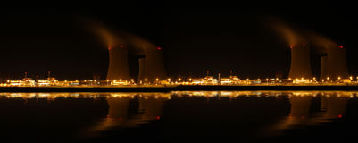 Nuclear power plant at night - Temelin, Czech Republic Royalty Free Stock Photo