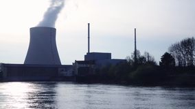 Nuclear power plant Ohu near Landshut. Bavaria, Germany stock footage