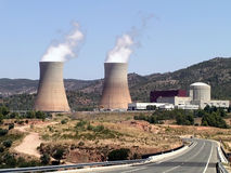 Nuclear power plant in operation. Photograph of a nuclear power plant in Spain Stock Photos