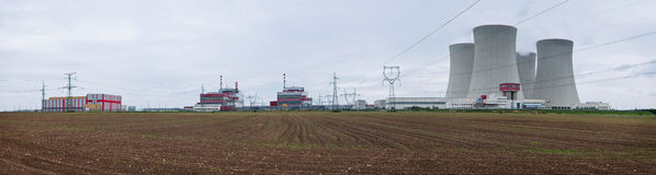 Nuclear Power Plant - Panorama. Panoramic picture of the Temelin nuclear power plant in the Czech Republic Royalty Free Stock Photos