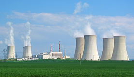Nuclear power plant panorama. Nuclear power plant, panorama view royalty free stock photography