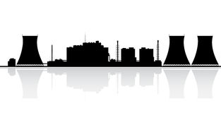 Nuclear Power Plant Silhouette Royalty Free Stock Photo