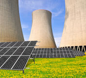 Nuclear power plant with solar panels Royalty Free Stock Photos
