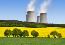 Nuclear power plant. In spring landscape Stock Images