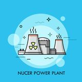 Nuclear power plant or station with cooling towers releasing steam. Concept of electricity generation, electric generator, atomic energy. Colorful vector Stock Photography
