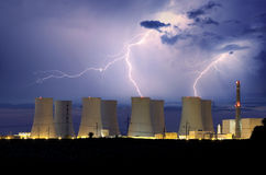 Nuclear power plant at storm Royalty Free Stock Images