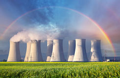 Nuclear power plant with summer field Stock Photography