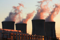 Nuclear power plant during sunset Royalty Free Stock Photography