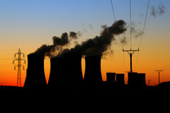 Nuclear power plant during sunset Stock Photos