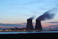 Nuclear power plant at sunset Royalty Free Stock Photos