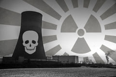 Nuclear power plant sunset sunrise black white Radiation soil environment Royalty Free Stock Image